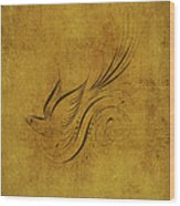 Vintage Bird On Gold Wood Print
