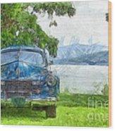 Vintage Blue Caddy At Lake George New York Wood Print