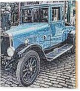 Vintage Blue Car 2 Wood Print
