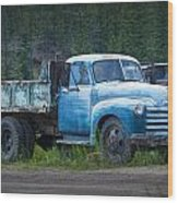 Vintage Blue Chevrolet Pickup Truck Wood Print