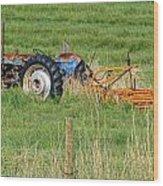Vintage Blue Tractor Wood Print