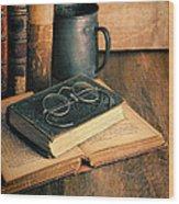 Vintage Books And Eyeglasses Wood Print
