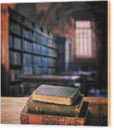 Vintage Books And Glasses In An Old Library Wood Print