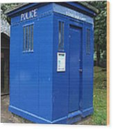 Vintage British Blue Police Phone Box Wood Print