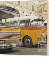 Vintage British Buses In Valetta Malta Wood Print