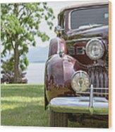 Vintage Caddy At Lake George Wood Print