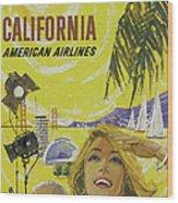 Vintage California Travel Poster Wood Print
