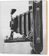 Vintage Camera - Black And White Wood Print
