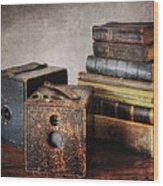 Vintage Cameras And Books Wood Print