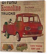 Vintage Car Advertisement 1961 Ford Econoline Truck Ad Poster On Worn Faded Paper Wood Print