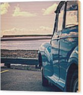 Vintage Car At The Beach  Wood Print