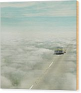 Vintage Car Driving Into Clouds Wood Print