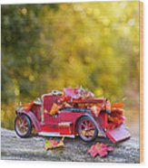 Vintage Car With Autumn Leaves Wood Print