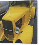 Vintage Car Yellow Wood Print