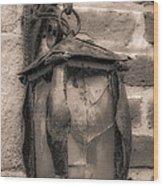 Vintage Carriage Lamp Wood Print