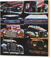 Vintage Cars Collage 2 Wood Print