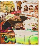 Vintage Cars Collage Wood Print
