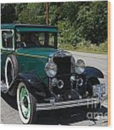 Vintage Cars Green Chevrolet Wood Print