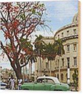 Vintage Cars Parked On A Street Wood Print