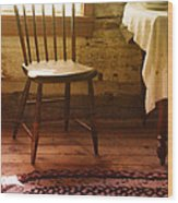 Vintage Chair And Table Wood Print
