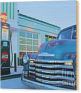 Vintage Chevrolet At The Gas Station Wood Print