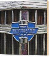 Vintage Chevrolet Grille Emblem Wood Print