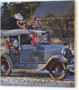 Vintage Christmas Car Wood Print