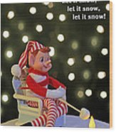 Vintage Christmas Elf Toasting A Marshmallow Wood Print by Barbara West
