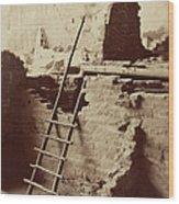Vintage Cliff Dwelling Wood Print