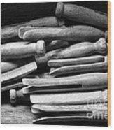 Vintage Clothespins Wood Print