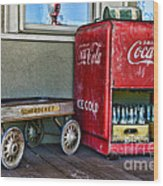 Vintage Coca-cola And Rocket Wagon Wood Print