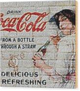 Vintage Coke Sign Wood Print