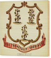 Vintage Connecticut Coat Of Arms - 1876 Wood Print