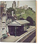 Vintage Corfe Castle Wood Print