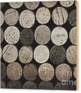 Vintage Corks Wood Print by Jane Rix