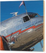 Vintage Dc-3 Airplane Wood Print