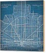 Vintage Detroit Rail Concept Street Map Blueprint Plan Wood Print