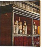 Vintage Druggist Shelf Wood Print