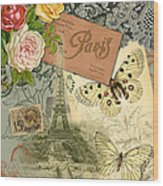 Vintage Eiffel Tower Paris France Collage Wood Print