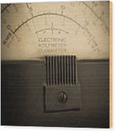 Vintage Electric Meter Wood Print