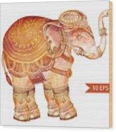Vintage Elephant Illustration. Hand Wood Print