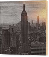 Vintage Empire State Building Wood Print