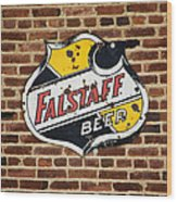 Vintage Falstaff Beer Shield Dsc07192 Wood Print