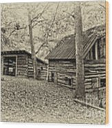 Vintage Farm Buildings Wood Print