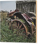 Vintage Farm Tractor Color Wood Print