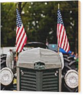Vintage Ferguson Tractor With American Flags Wood Print