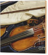 Vintage Fiddle In The Case Wood Print
