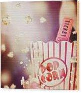 Vintage Film And Cinema Wood Print