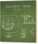 Vintage Firefighter Helmet Patent Drawing From 1932 - Green Wood Print