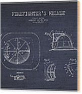 Vintage Firefighter Helmet Patent Drawing From 1932 - Navy Blue Wood Print